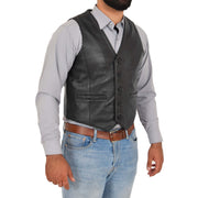 Mens Full Leather Waistcoat Gilet Traditional Smart Vest King Black