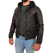 Mens Real Black Leather Bomber Hoodie Jacket Sports Fitted Coat Kent Open Side 1