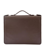 Brown Leather A4 Ring Binder File Folio Office Bag Zip Organiser Braga Front 1