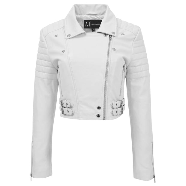 Womens Fitted Cropped Bustier Style Leather Jacket Amanda White 2