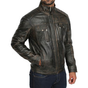 Mens Fitted Washed Biker Vintage Leather Aron Rub Off Front 1