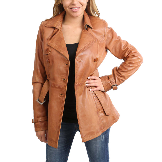 Womens Soft Leather Trench Coat Olivia Tan Open