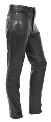 Mens Genuine Soft Black Leather Trouser Ajax 2