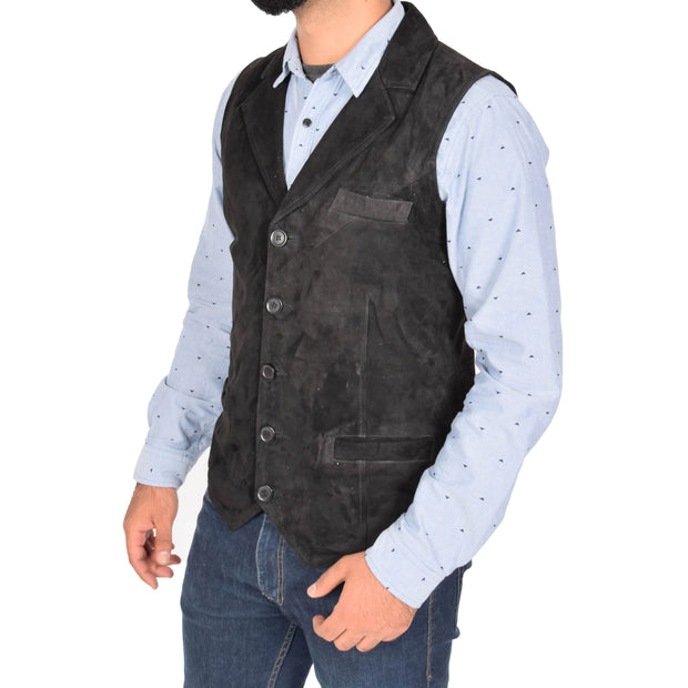 Mens Real Suede Leather Waistcoat Classic Vest Yelek Status Black Front 3