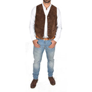 Mens Real Suede Leather Waistcoat Classic Vest Gilet Cole Brown Full