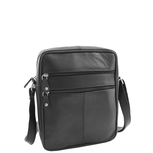 Mens Real Leather Shoulder Bag Cross Body Flight Pouch A155 Black Front 3