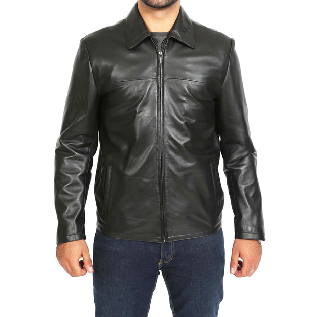 Mens Classic Zip Fasten Box Leather Jacket Tony Black zip fasten