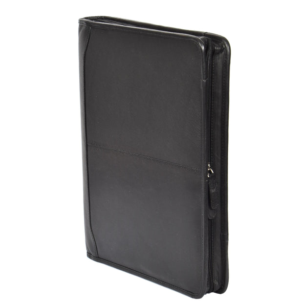 Zip Around Folio Leather Folder A4 Binder Organiser Underarm Bag A1 Black Stand
