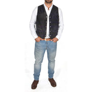 Mens Real Suede Leather Waistcoat Classic Vest Gilet Cole Black Full