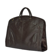 Genuine Soft Leather Suit Carrier Dress Garment Bag A173 Brown Front Angle 2