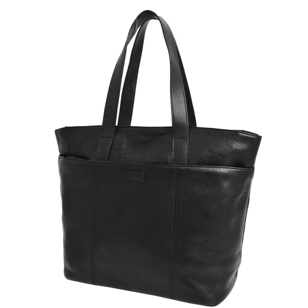 Womens Genuine Black Leather Shoulder Bag Large Tote Day Handbag KAY Front 3