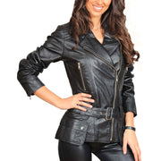 Womens Fitted Mid Length Biker Leather Jacket Hannah Black Front
