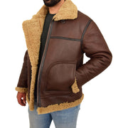 Mens Brown Real Sheepskin B3 Flying Bomber Jacket Shearling Aviator Pilot Coat Larry Open 1