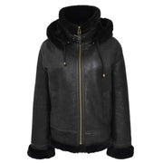 Womens Real Black Sheepskin Jacket Hooded Shearling B3 Pilot Coat Maria Collar UP