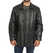 Gents Classic Soft Leather Parka Overcoat Clive Black open view