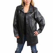 Ladies Classic Parka Real Leather Coat Trim Jacket Lulu Black-Grey Front