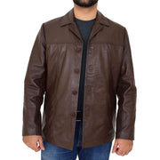 Mens Casual Leather Jacket Hip Length Brown Reefer Blazer Coat Harold Open 1