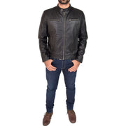 Mens Leather Jacket Biker Style Zip up Coat Bill Black Full