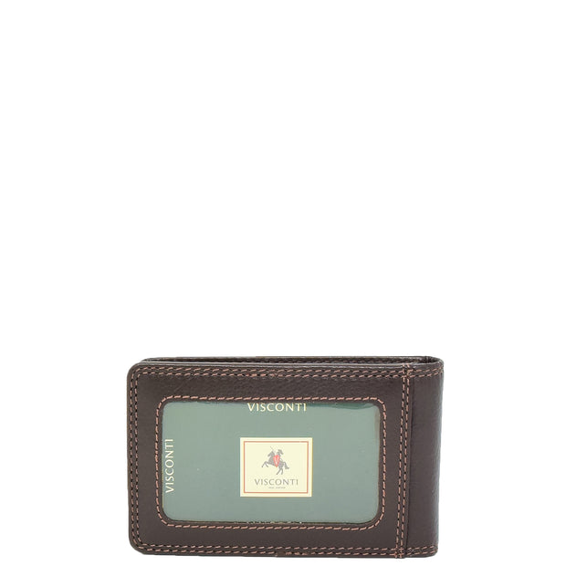Real Leather Credit Card Holder Oyster Bus Pass ID Bifold Slim Wallet AV5 Brown Back