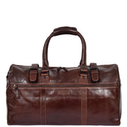 Brown Luxury Leather Holdall Travel Duffle Weekend Cabin Bag Targa Front