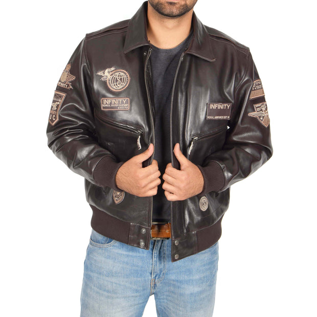 Mens Pilot Leather Jacket Air Force Badges Bomber Coat Luca Brown Open