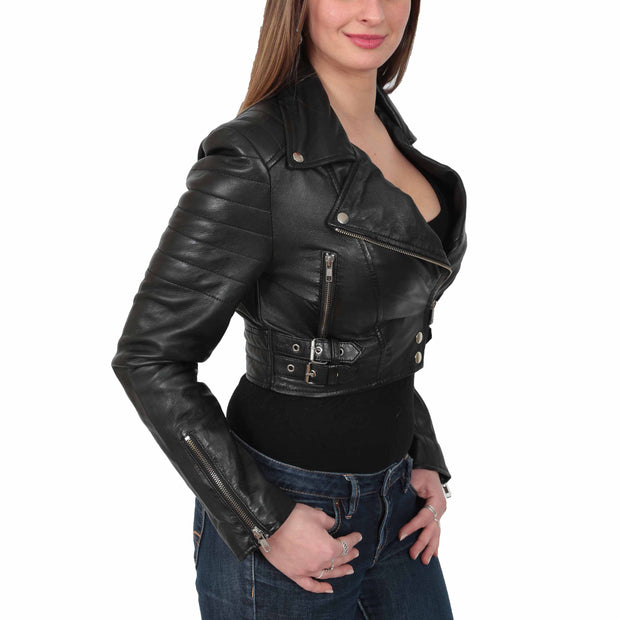 Womens Fitted Cropped Bustier Style Leather Jacket Amanda Black Front