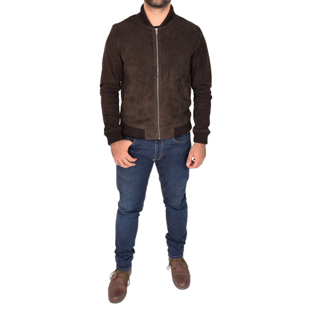 Mens Soft Goat Suede Bomber Varsity Baseball Jacket Blur Brown Full