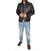 Mens Real Cowhide Bomber Leather Jacket Pilot Jacket Lance Black Full