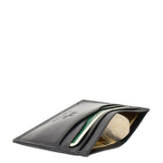 Real Leather Compact Card Wallet Small Slim Oysters Card Holder AVT1 Black Side
