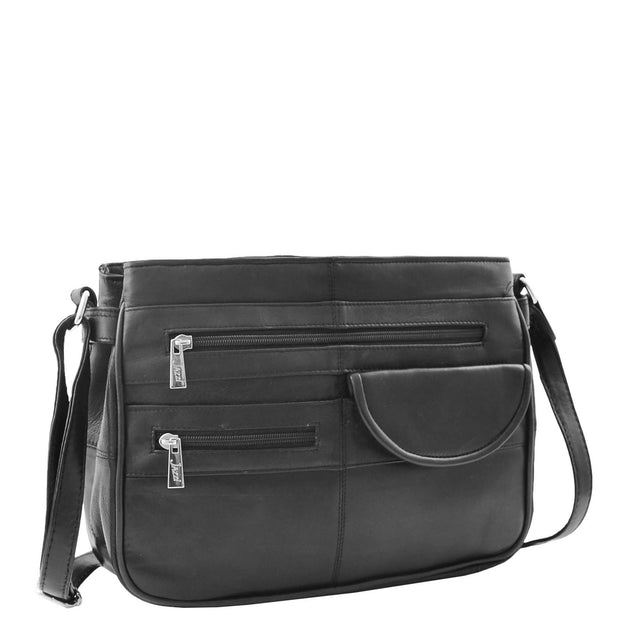 Ladies Soft Leather Crossbody Multi Zip Pockets Bag Dolores Black Front 2