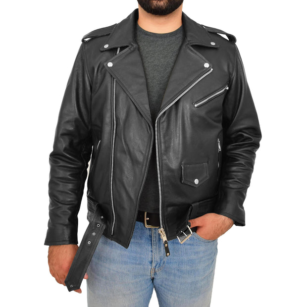 Genuine Cowhide Biker Leather Jacket For Men Casual Brando Coat Rock Black