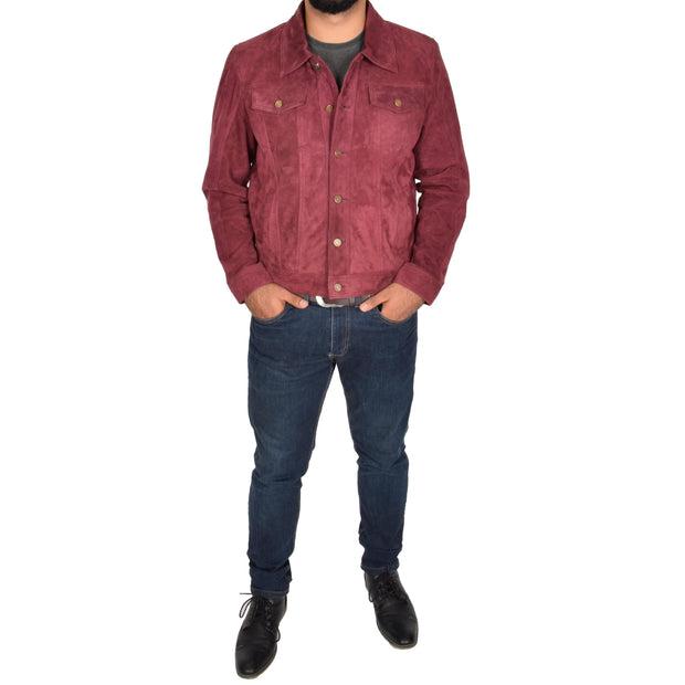 Mens Real Soft Goat Suede Trucker Denim Style Jacket Chuck Burgundy Full