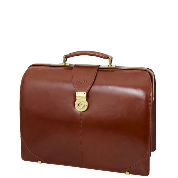 Exclusive Doctors Leather Bag Cognac Italian Briefcase Gladstone Bag Doc Front 2
