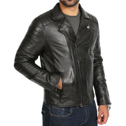 Mens Black Leather Biker Jacket X-Zip Fasten Trendy Designer Coat Max