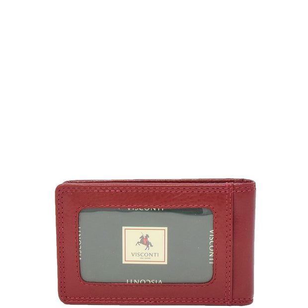 Real Leather Credit Card Holder Oyster Bus Pass ID Bifold Slim Wallet AV5 Red Back
