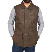 Countrymen Brown Leather Waistcoat Multi Pockets Gilet Boyles Front 1