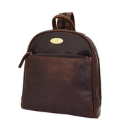 Womens Backpack Brown LEATHER Rucksack Organiser Bag Harper