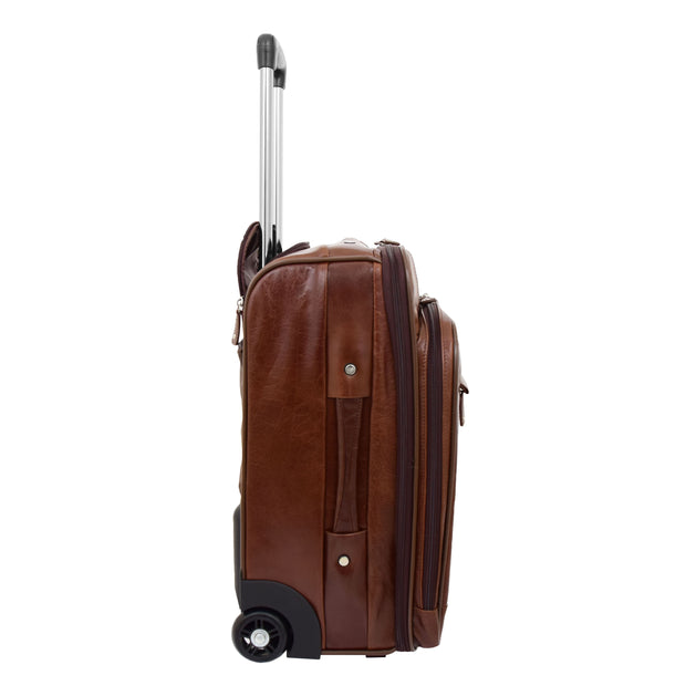 Luxurious Brown Leather Cabin Size Suitcase Hand Luggage Beverley Hills Side