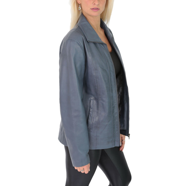 Womens Classic Fitted Biker Real Leather Jacket Nicole Blue Side