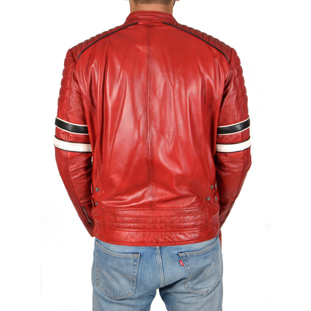 Mens Biker Leather Jacket Stripes Standing Collar Coat Ricky Red Back