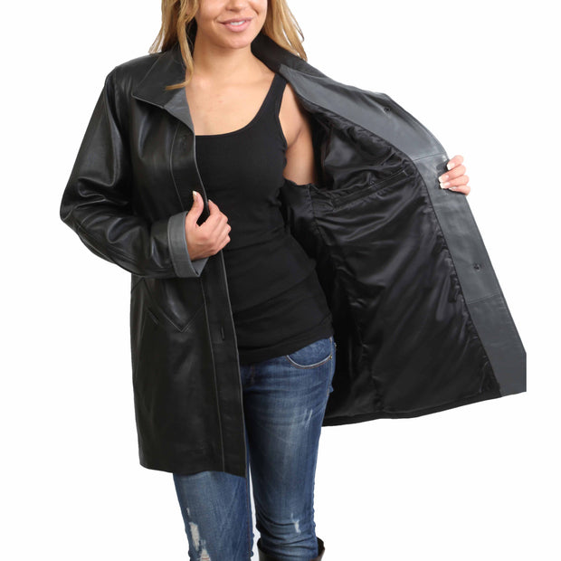 Ladies Classic Parka Real Leather Coat Trim Jacket Lulu Black-Grey Lining