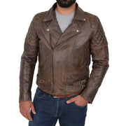Mens Trendy Biker Leather Jacket Antique Quilted Designer Coat Jace Brown Front 1