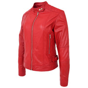 Womens Soft Red Leather Biker Jacket Designer Stylish Fitted Quilted Celeste Front Angle
