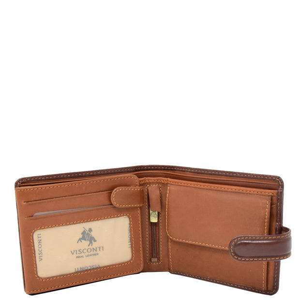 Mens High Quality Real Italian Leather Wallet Purse AVT53 Brown Open 1