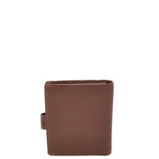 Mens Snap Closure Purse Real Leather Wallet AL31 Brown Back