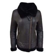 Super Luxurious Womens Real Sheepskin Jacket Aviator Coat Alexa Black Front 1