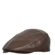 Genuine Brown Leather Flat Cap English Granddad Baker-boy Hat Arthur Side Angle