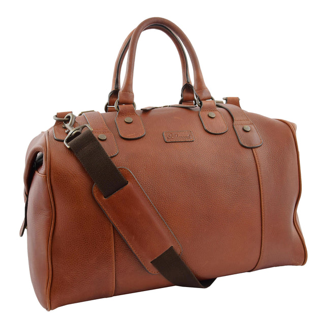 Genuine Vintage Chestnut Leather Holdall Travel Duffle Weekend Bag Rove