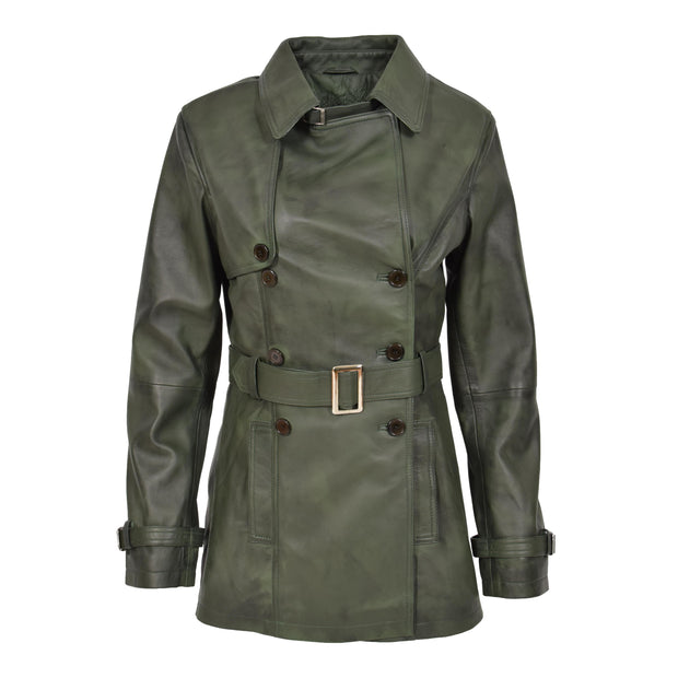 Womens Soft Leather Trench Coat Olivia Green Front 2