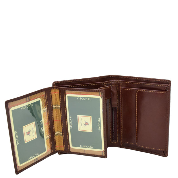 Gents Real Leather Bifold Large Wallet Cards Notes Coins Purse AVZ3 Brown Open 2